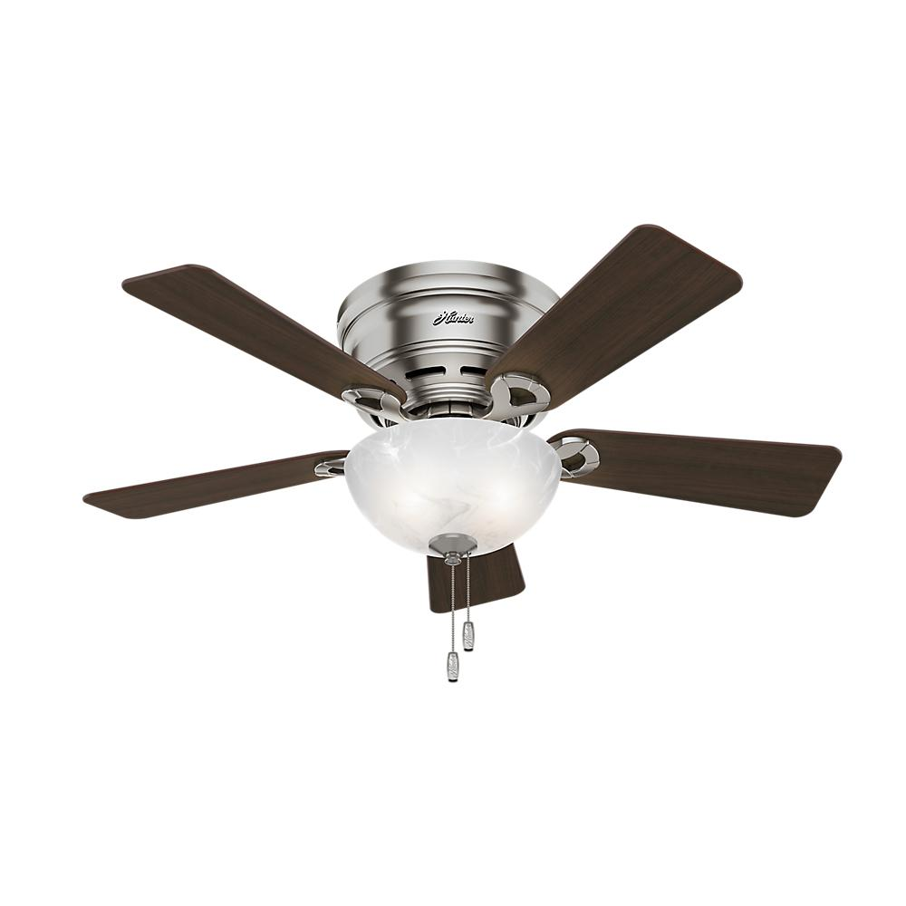 Hunter Haskell 42 In Low Profile Indoor Brushed Nickel Ceiling Fan 52139 Ceiling Fan Flush Mount Ceiling Fan Hugger Ceiling Fan