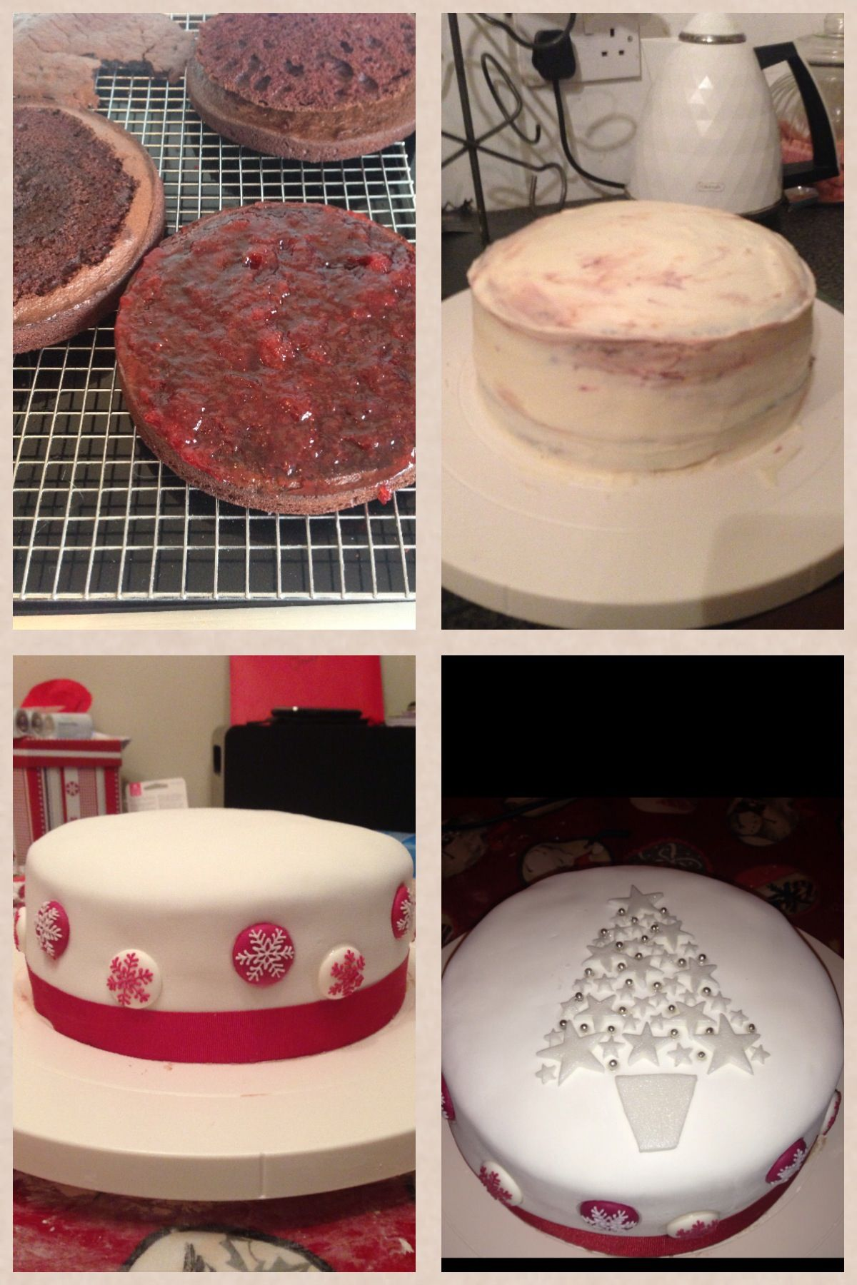 Fondant Christmas cake with wonderlust stars and edible snow flakes with strawberry conserve Jam and choc fudge sponge