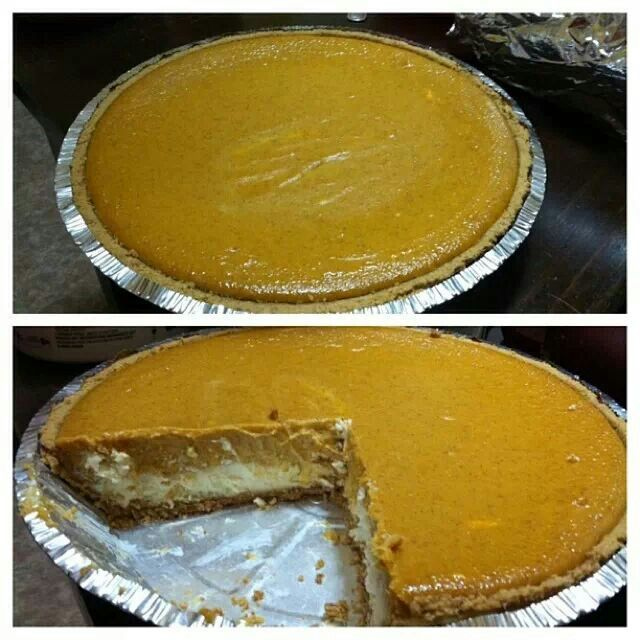 Pumpkin cheesecake pie that I made from one of tbe pins.