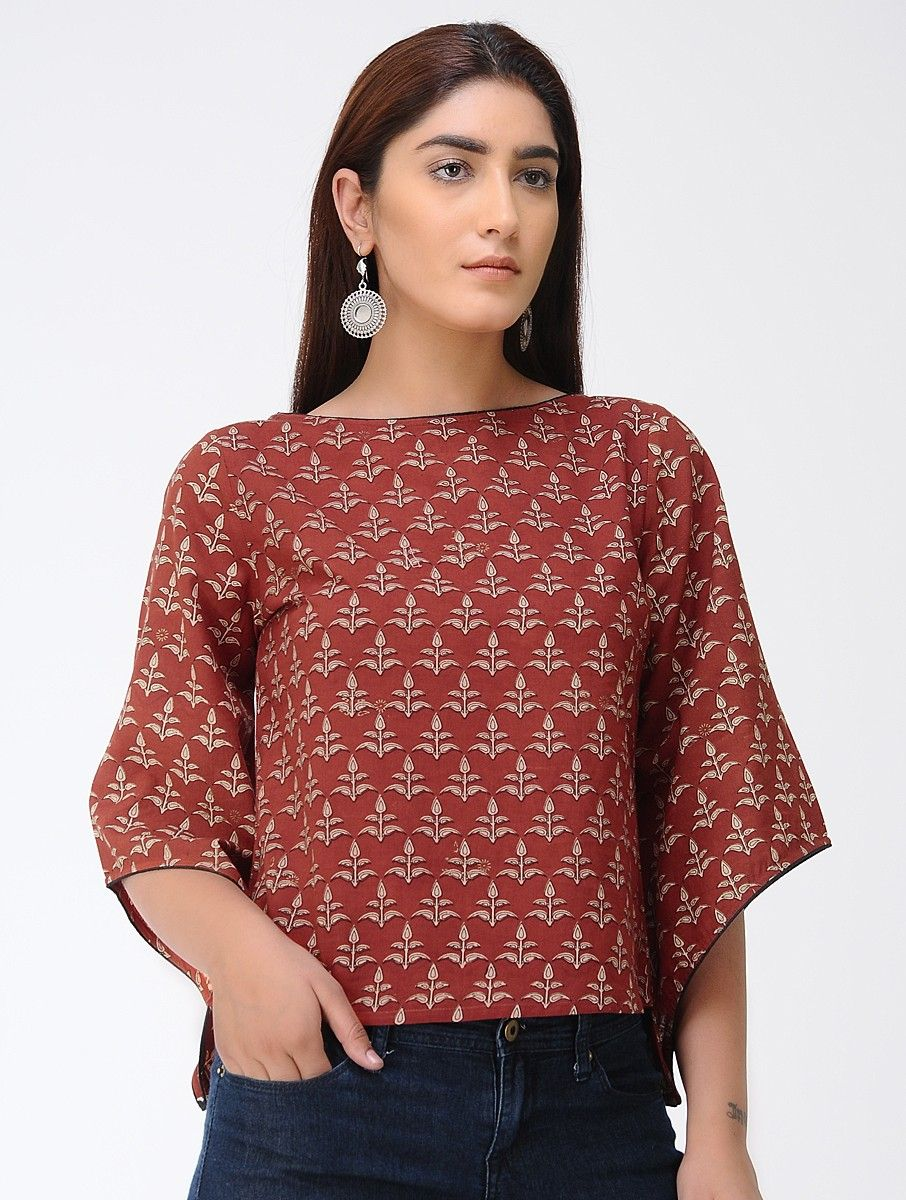 5928e4e66cfab9 Buy Red Dabu printed Handwoven Cotton Top Women Tops Notes apparel for an  effortless season Online at Jaypore.com