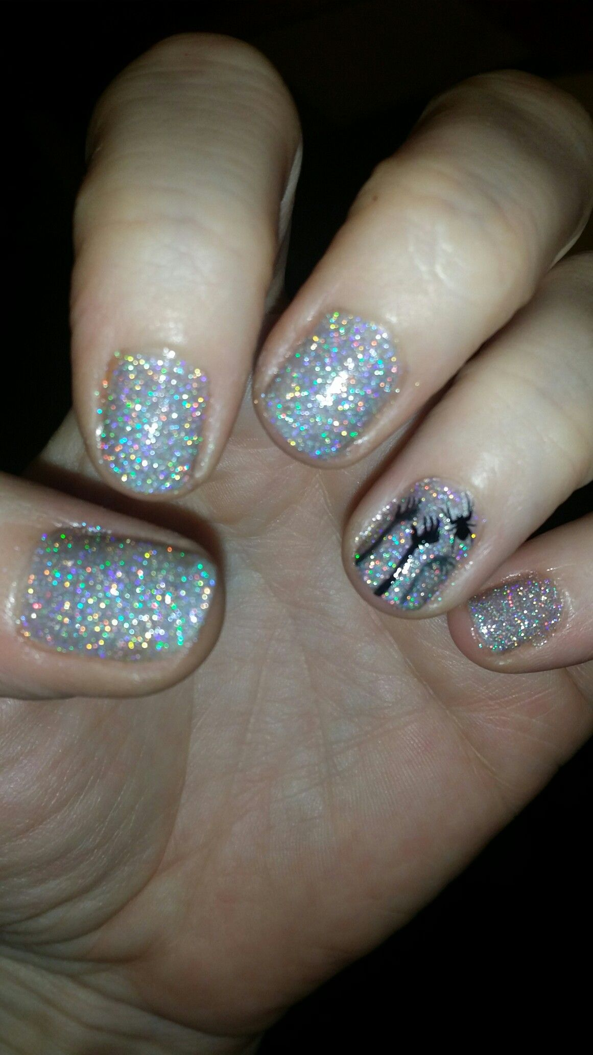 Silver holo Halloween 💀 💀 (With images)   Nail designs ...