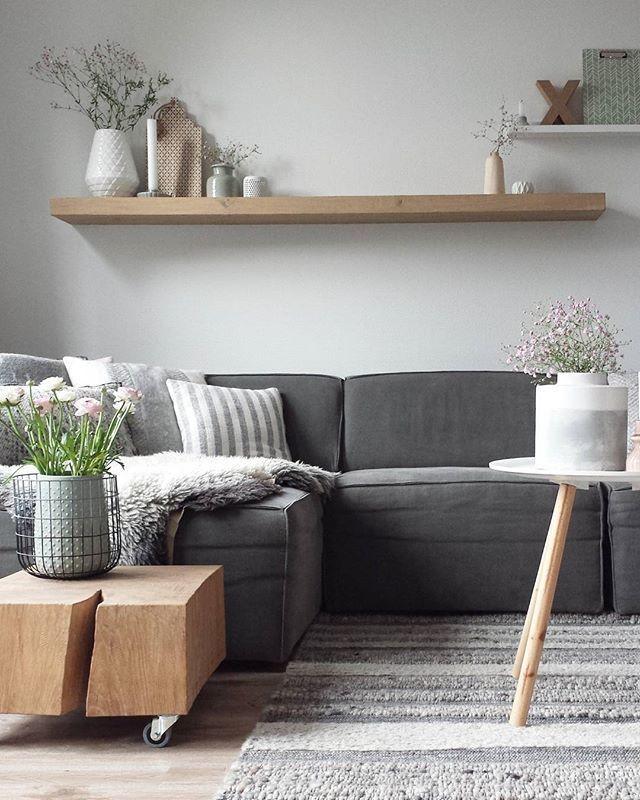 Wohnzimmer    Grau   Holz   Harmonie Im Wohnzimmer mit NUMMER - wohnideen wohnzimmer grau