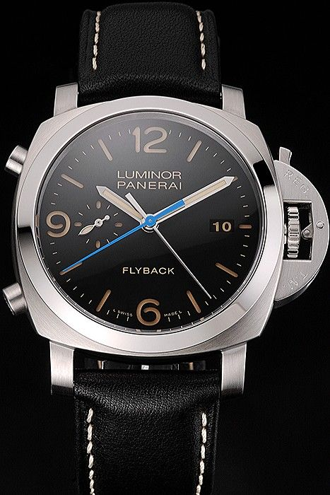 4e90407a014 Swiss Panerai Luminor Flyback Chronograph Black Dial Stainless Steel Case Black  Leather Strap