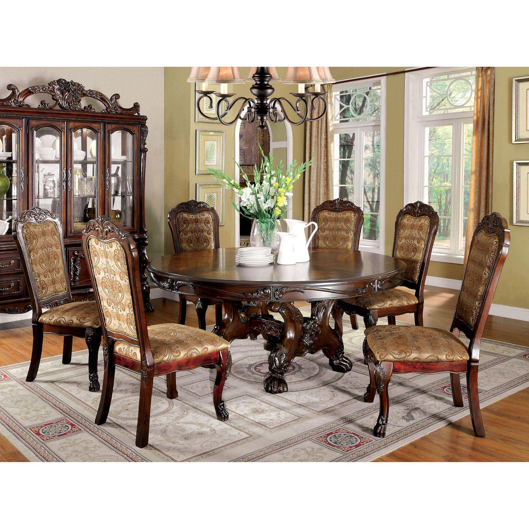 Furniture of America Evangeline Elegant 7-Piece Round Dining Table ...