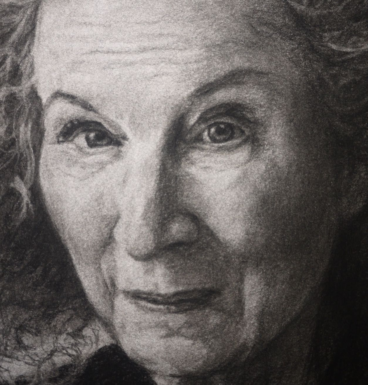 Rebecca Holton - 'Margaret Atwood' (detail) #margaretatwood Detail from a charcoal drawing of Margaret Atwood by the london artist, Rebecca Holton. #face  #portrait  #portraiture  #portraitdrawing  #margaretatwood  #rebeccaholtonfineart  #rebeccaholton  #peopledrawing  #drawingfaces  #contemporaryart #margaretatwood