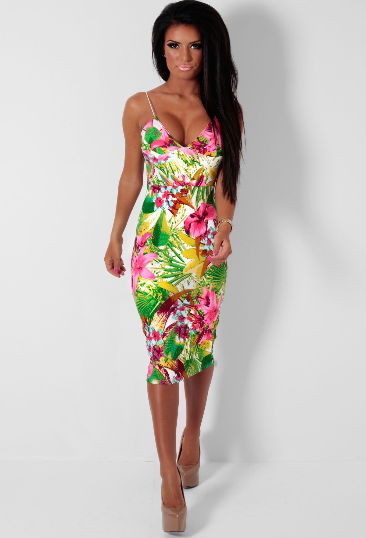 Minnie Multicolour Tropical Print Midi Dress | Fashion | Pinterest