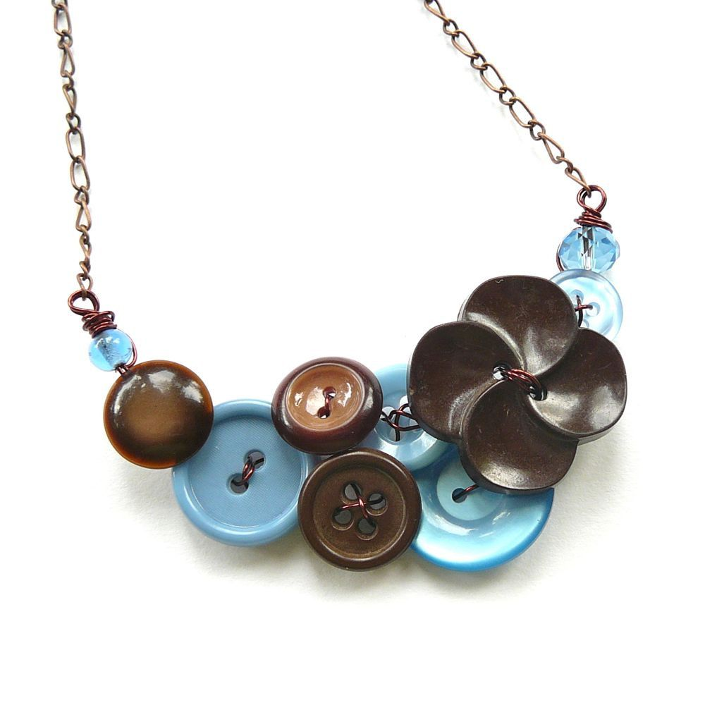 Vintage Button Jewelry Button Necklace in Baby Blue and Chocolate