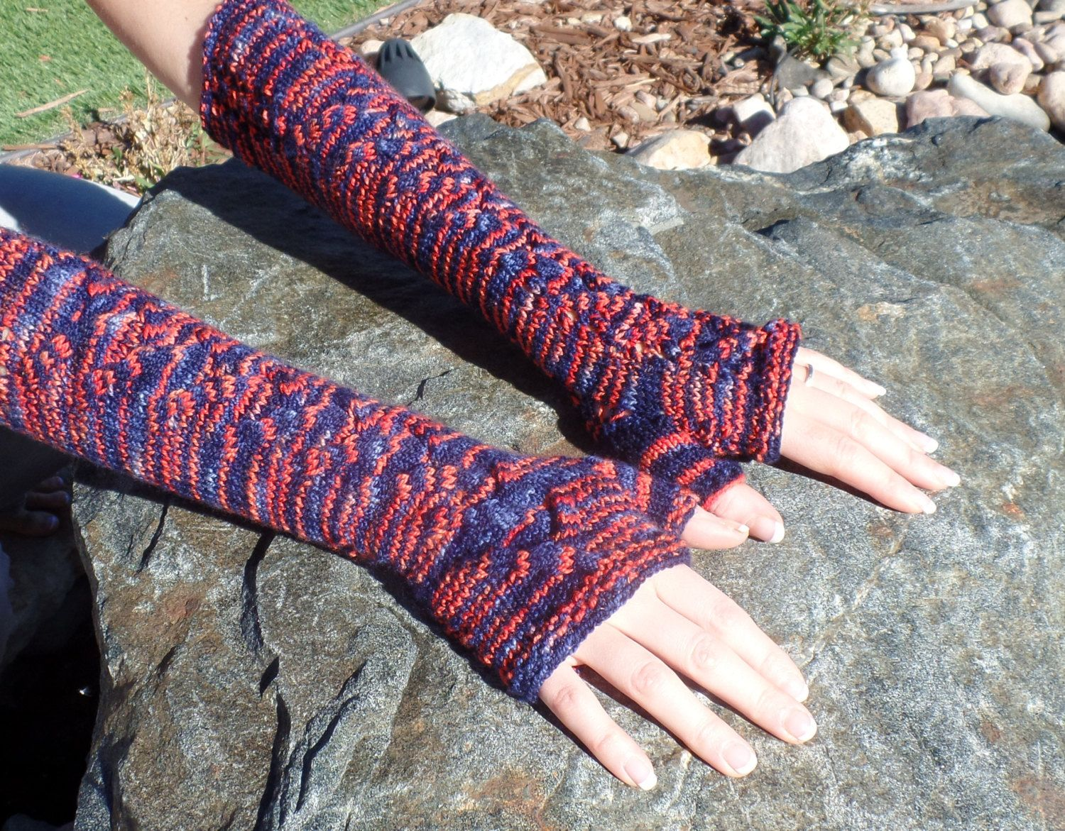 Knit fingerless glove knitting PATTERN, gauntlets, arm length, cable ...