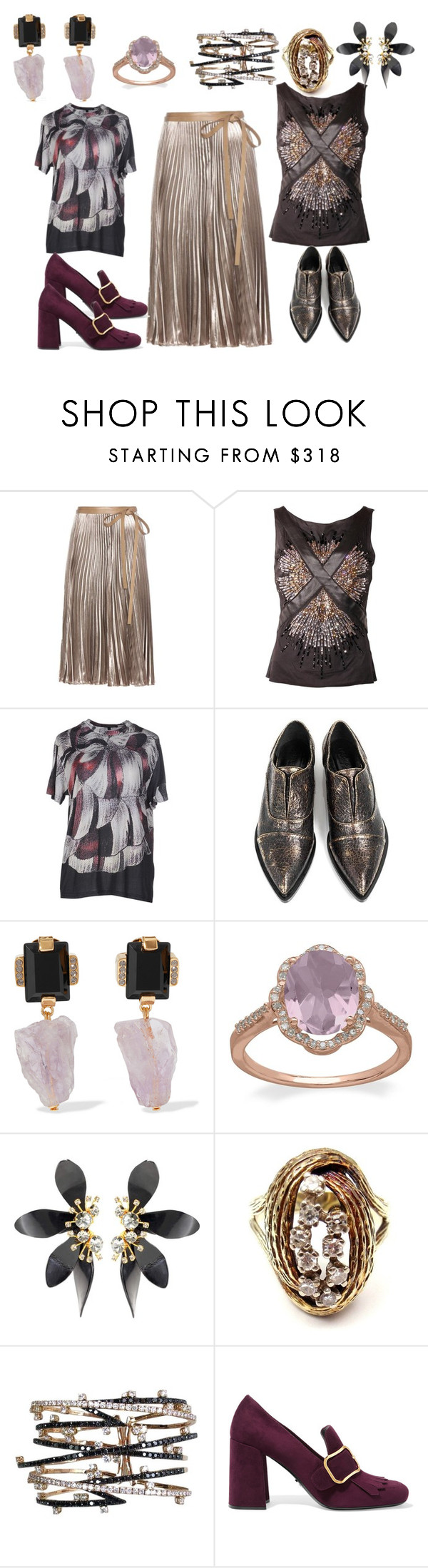 """Dourando"" by rosania-gsrq on Polyvore featuring moda, Valentino, Christopher Kane, Marni, Lord & Taylor e Prada"