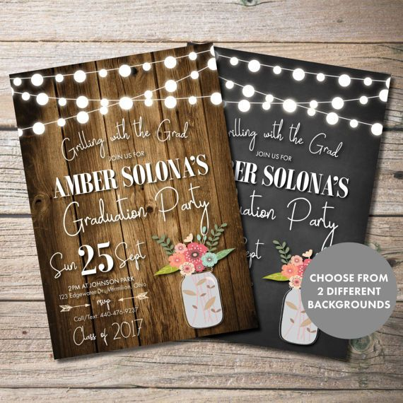 Rustic Graduation Party Invitation Wood String Lights Grilling