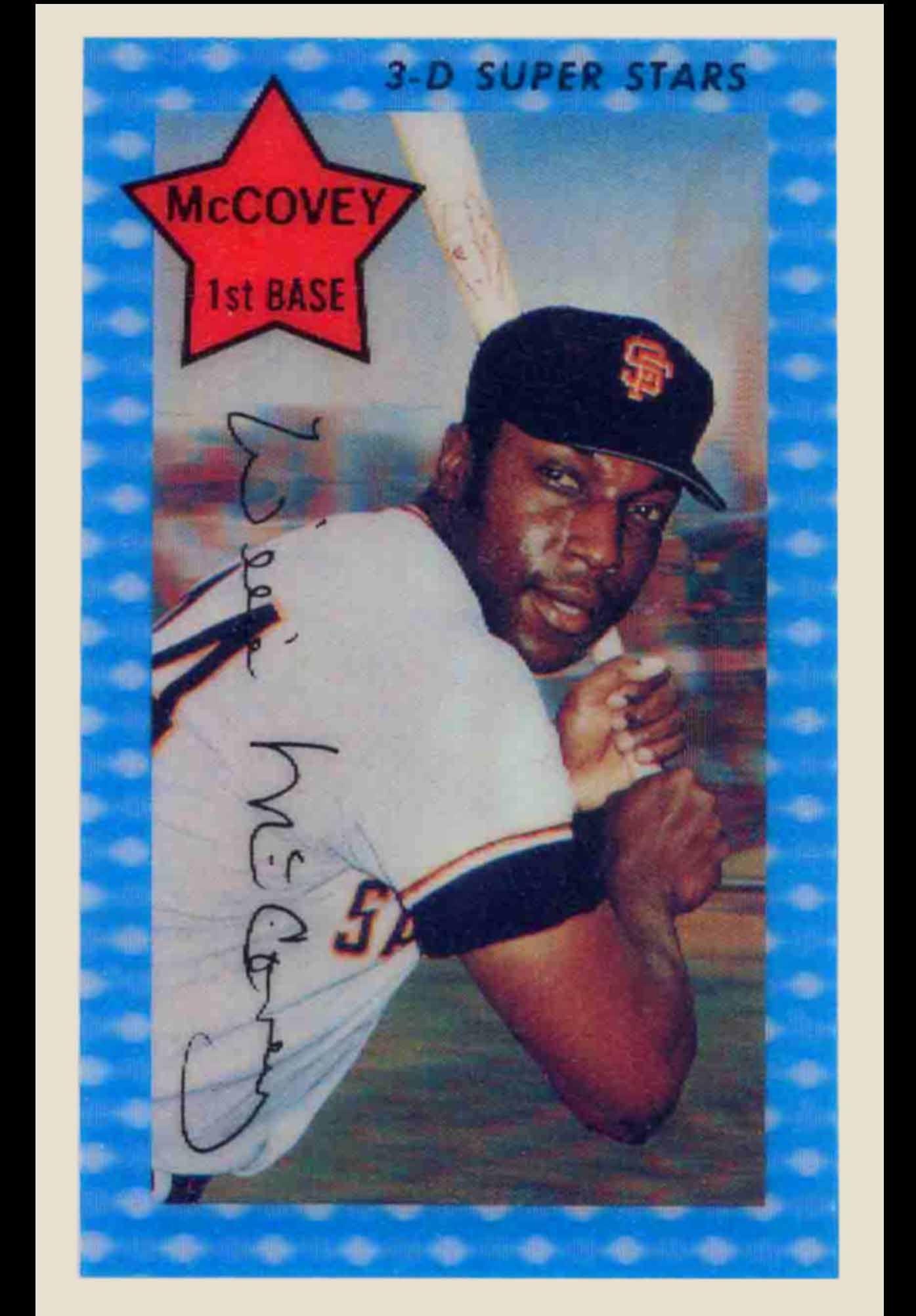 Willie Mccovey 3d Baseball Card Kelloggs 1976 Sfgiants