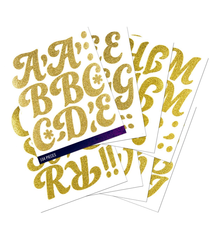 Sticko 104 Pack Funkydori X Large Glitter Alphabet Stickers Gold Alphabet Stickers Scrapbook Supplies Paper Crafts