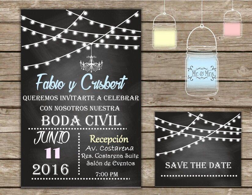 Invitación Digital Para Boda Civil Invitaciones De Boda