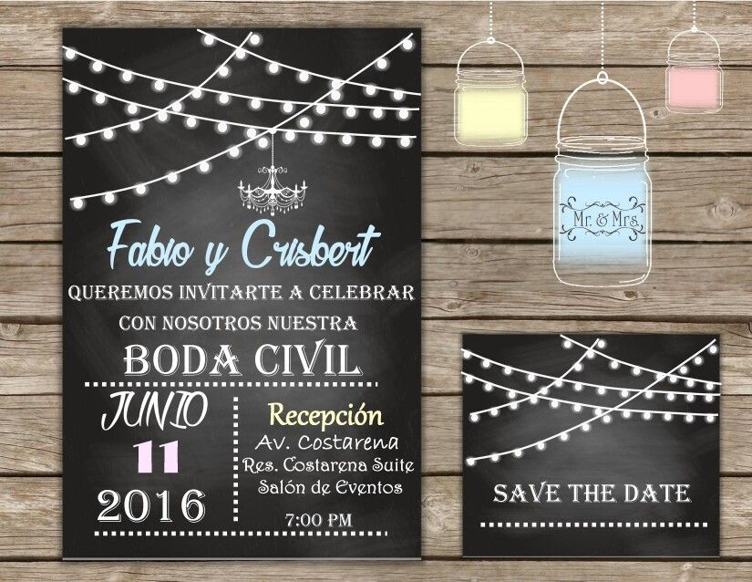Invitaci 243 N Digital Para Boda Civil Invitaciones De Boda