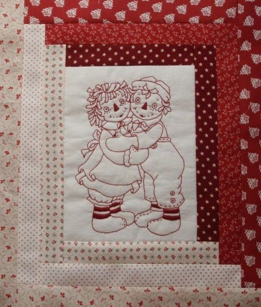 Redwork Embroidery Quilt Square Raggedy Cottage Pinterest