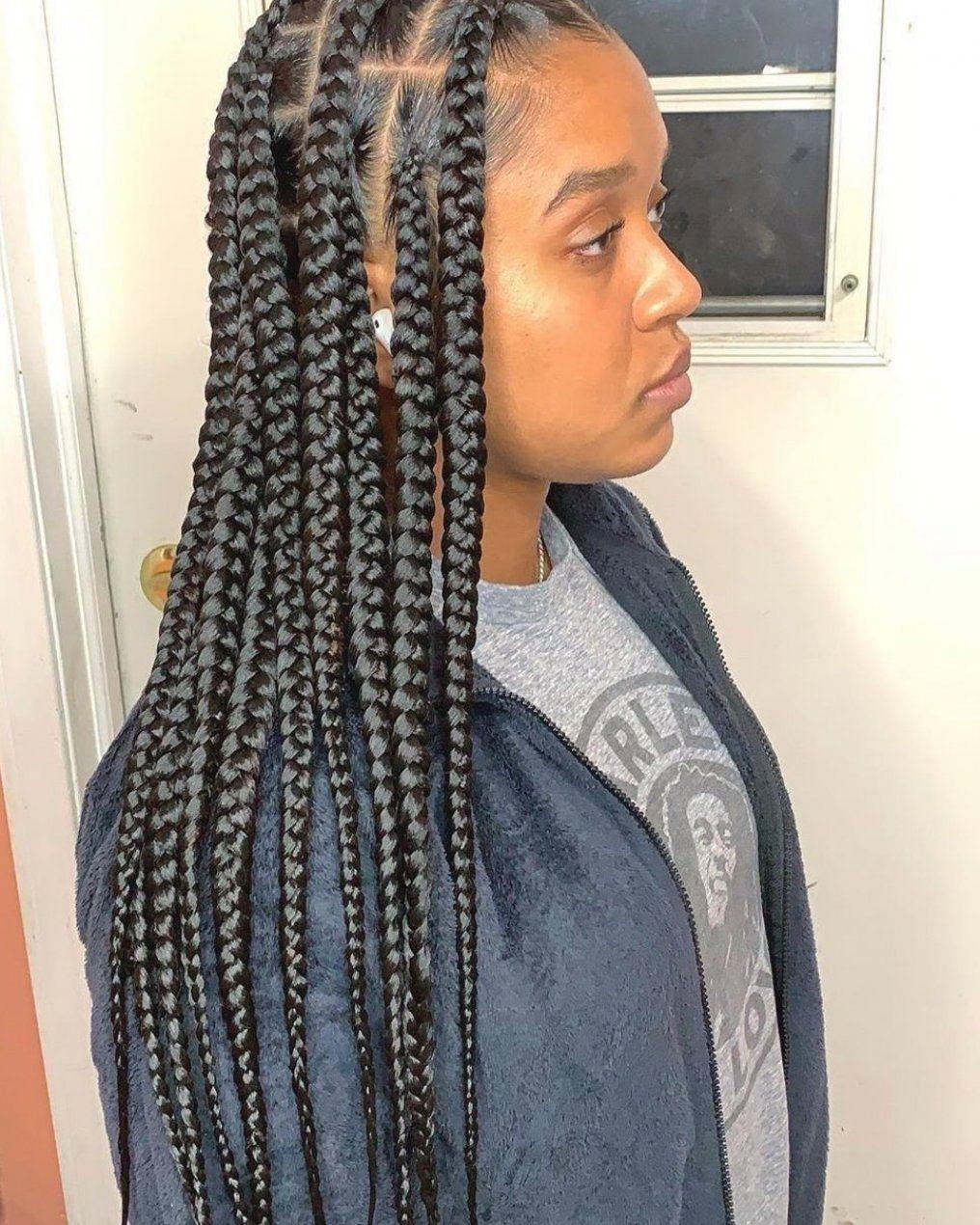 Hair Large Knotless Braids Large Knotless Box Braids Black Girl Braids Goddess Braids Bra In 2020 Braids With Curls Box Braids Medium Length Thick Hair Styles