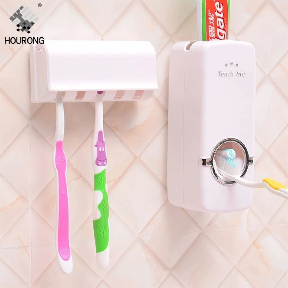 EMAPRUI Toothbrush Holder Automatic Toothpaste Dispenser Wall Mounted,Perfect for Family use.Anti-dust with 4 Cups Easily Toothbrush Holder for Bathroom Storage Set No Drill Need