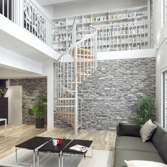 Best Dolle Montreal Grey Spiral Stair Kit Oak Veneer Stair 400 x 300