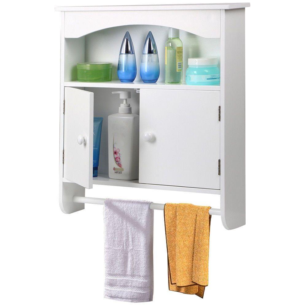 Wall Mounted Wooden Bathroom Cabinet White Storage Towel Shelf ...