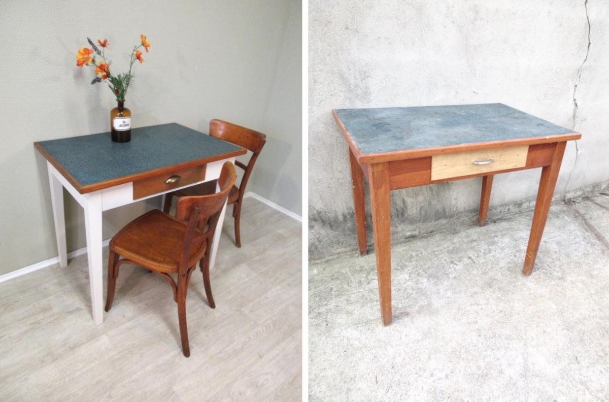 Shop: Kleiner Tisch mit grünem Linoleum | Schreibtisch | Pinterest ...