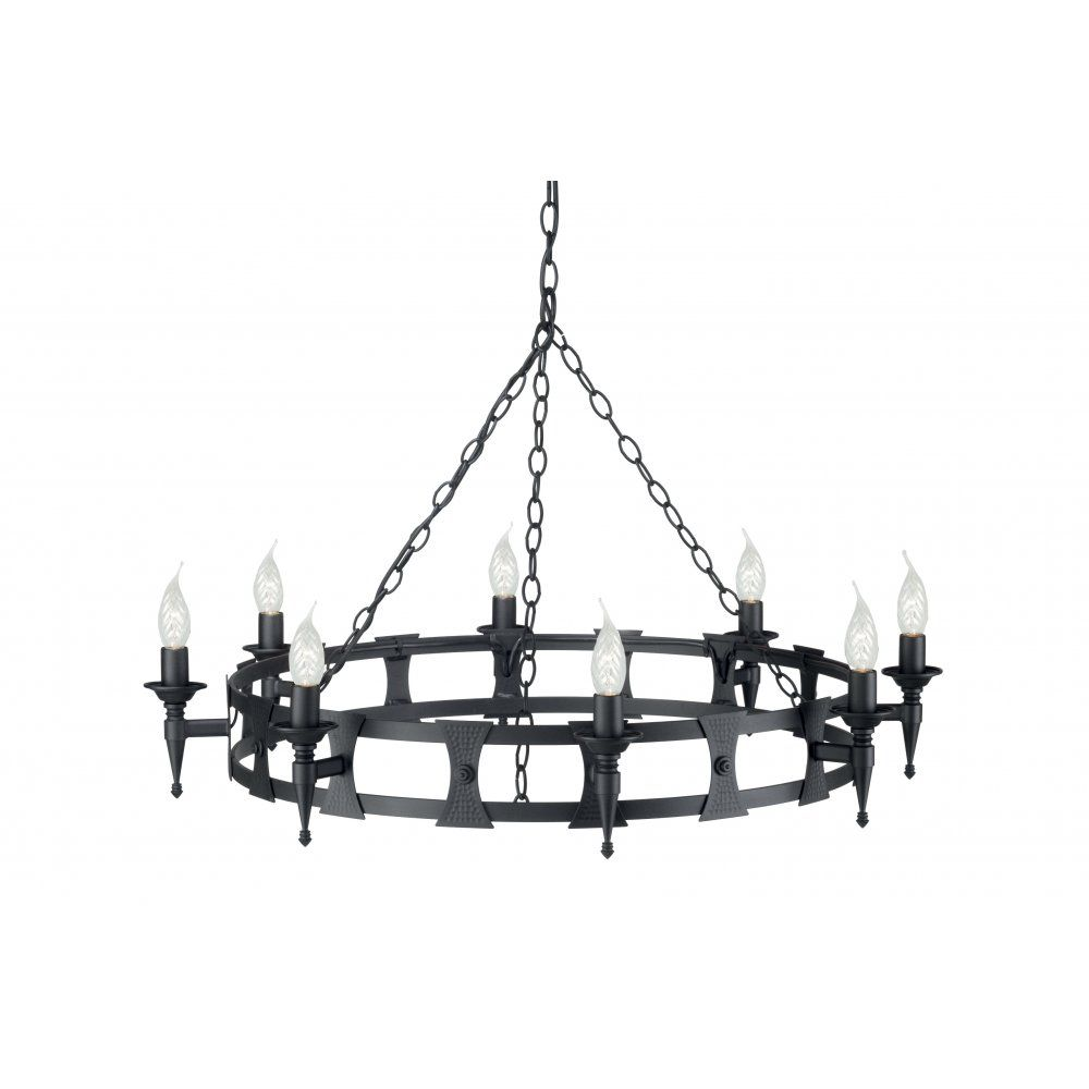 Saxon Medieval Black Wrought Iron Chandelier, Circular Hooped Fitting