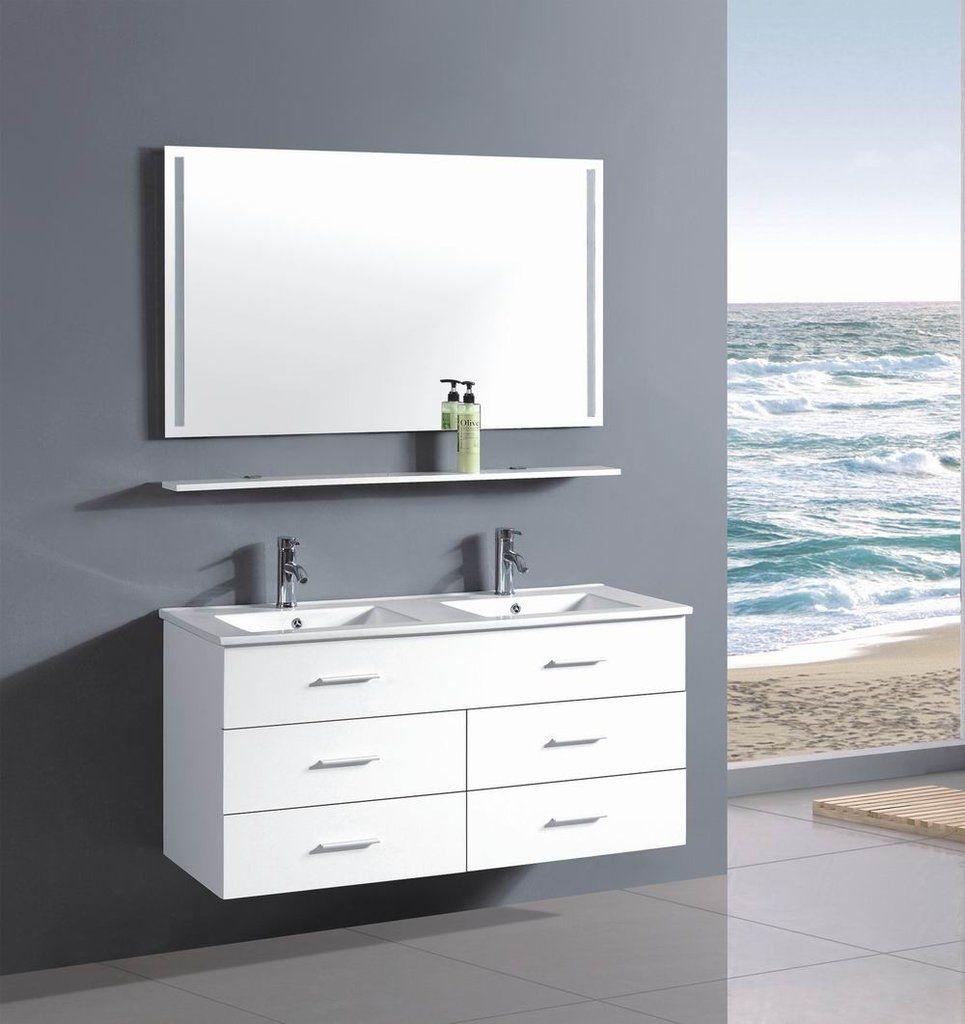 Alexandra 48 Inch Modern Wall Mounted Double Sink Bathroom Vanity