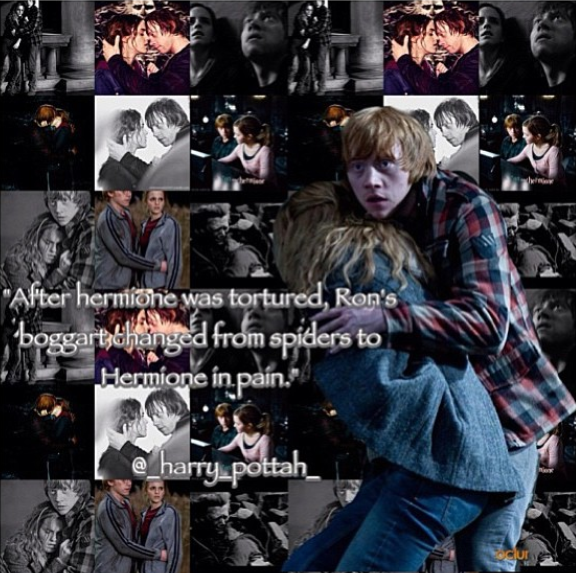 After Hermione was tortured, Ron's boggart changed from spiders to