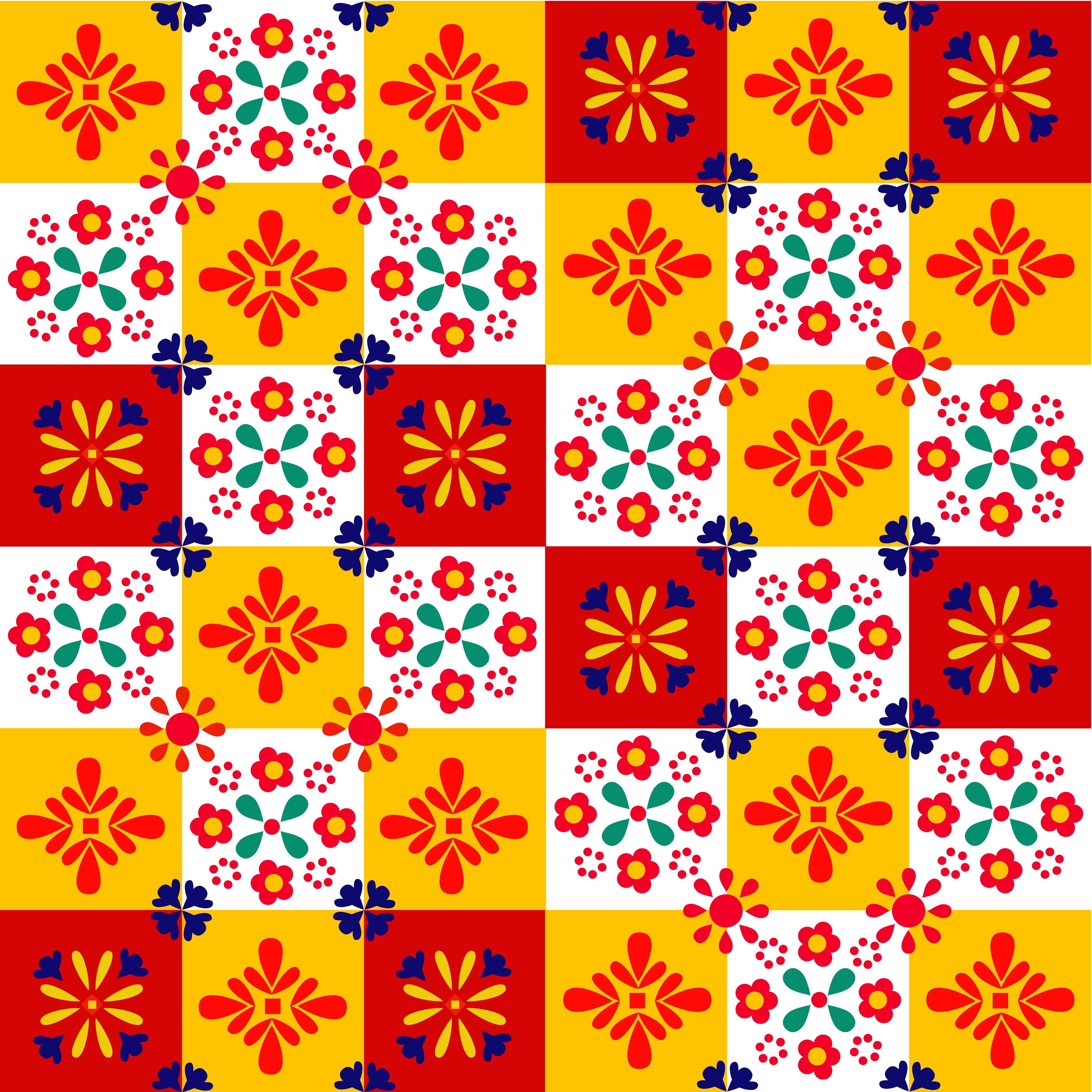 スペインタイル柄 タイル 柄 スペイン タイル スマホ壁紙