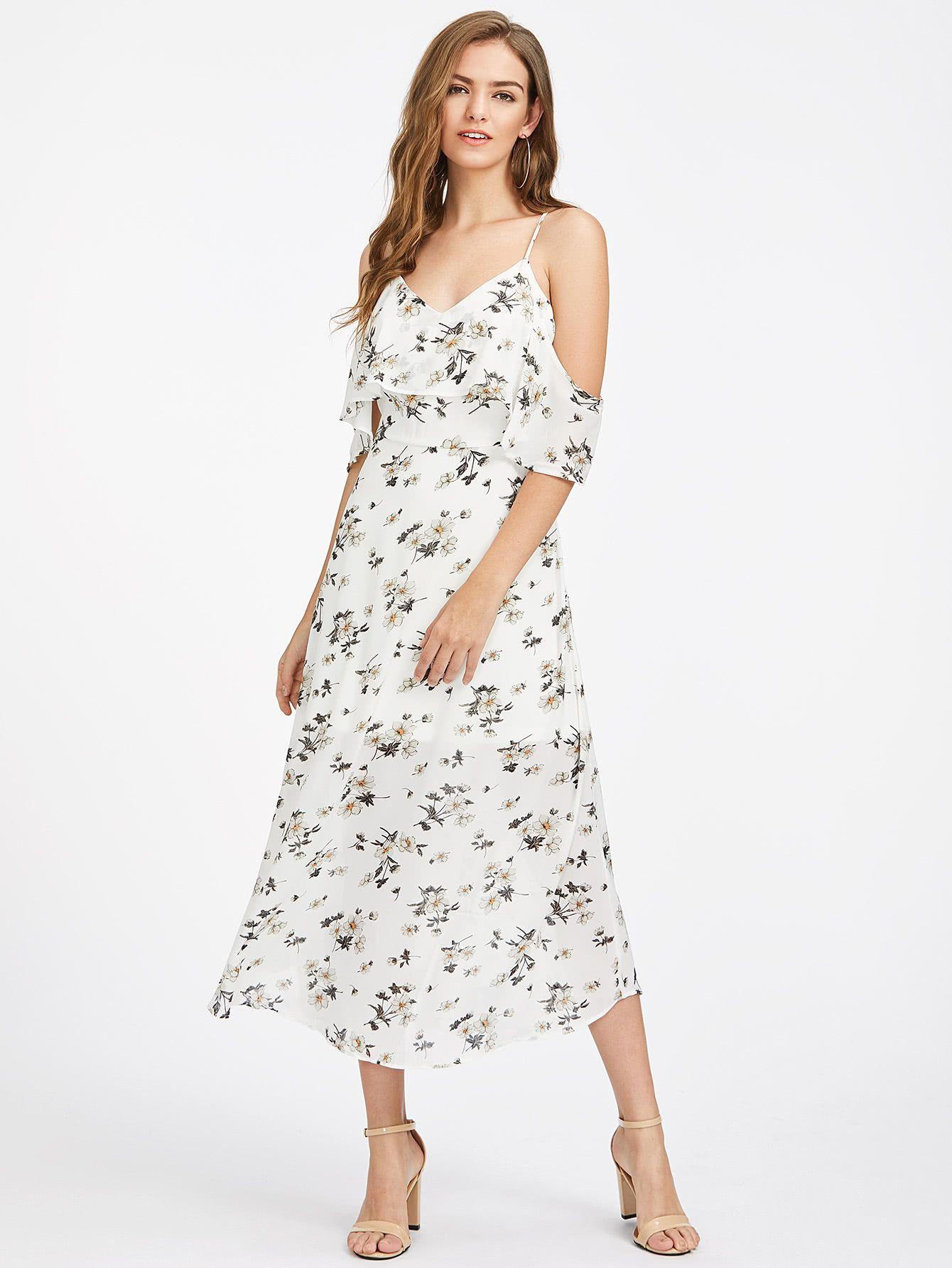a85ff83498476 ¡Consigue este tipo de vestido informal de SheIn ahora! Haz clic para ver  los detalles. Envíos gratis a toda España. Calico Print Flounce Layered  Dress  ...