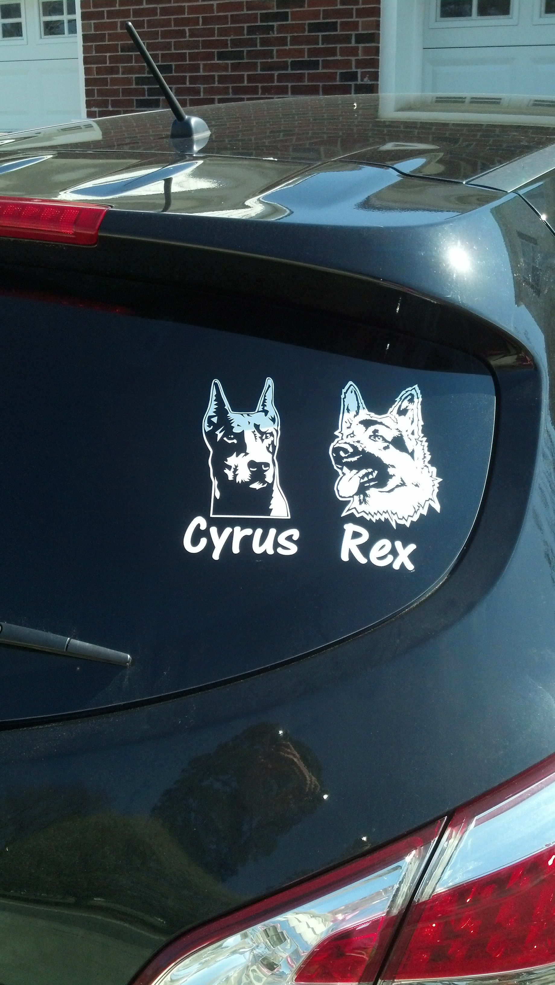 Car sticker design name - Doberman Pinscher 02 And German Shepherd 05 Decals Customized With Your Dog S Name This Customer