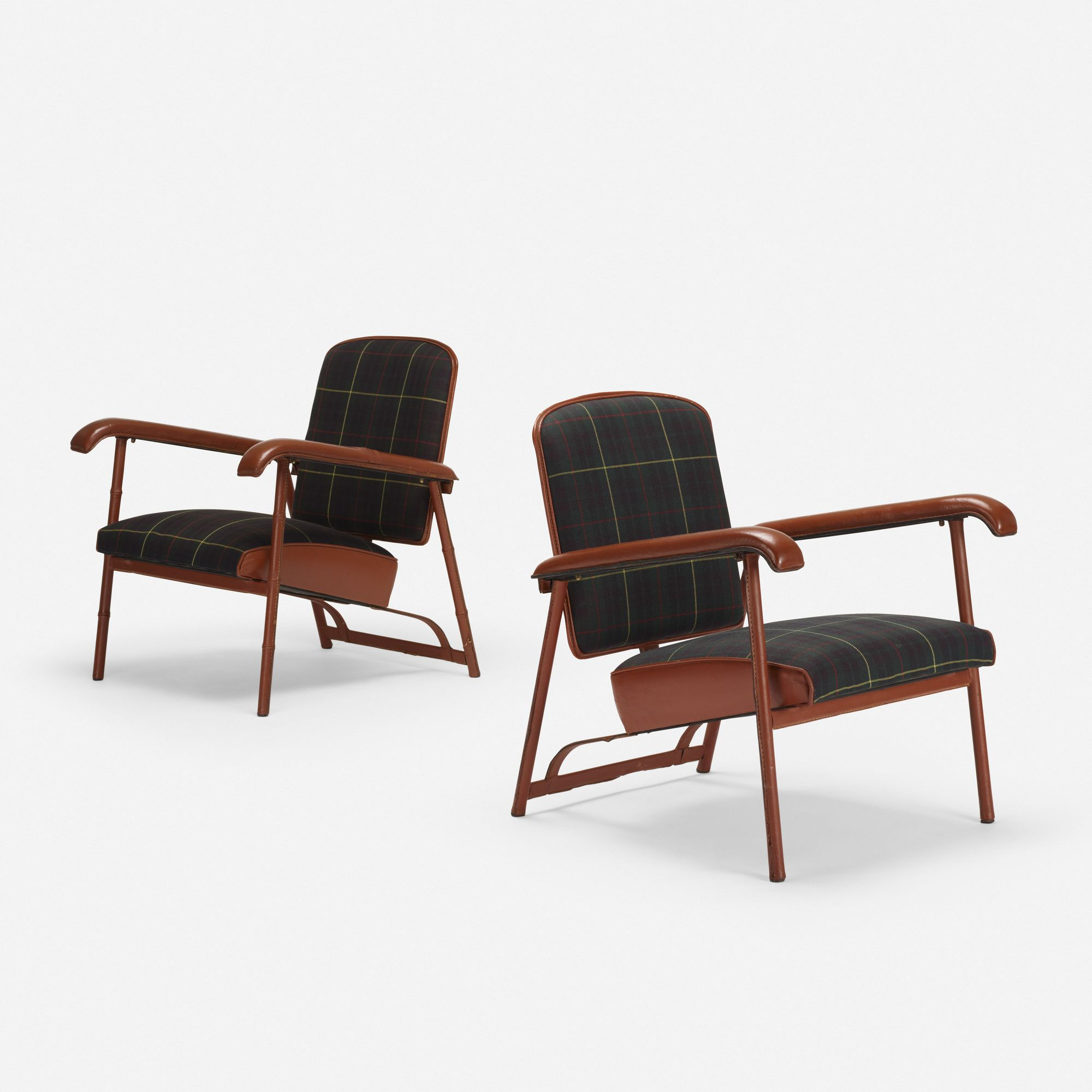 Jacques Adnet Lounge Chairs Pair Wright20 Com Kreslo