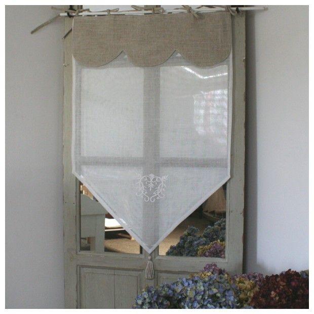 Brise-Bise Monogramme blanc Cantonniere lin | Curtain / Závěsy ...