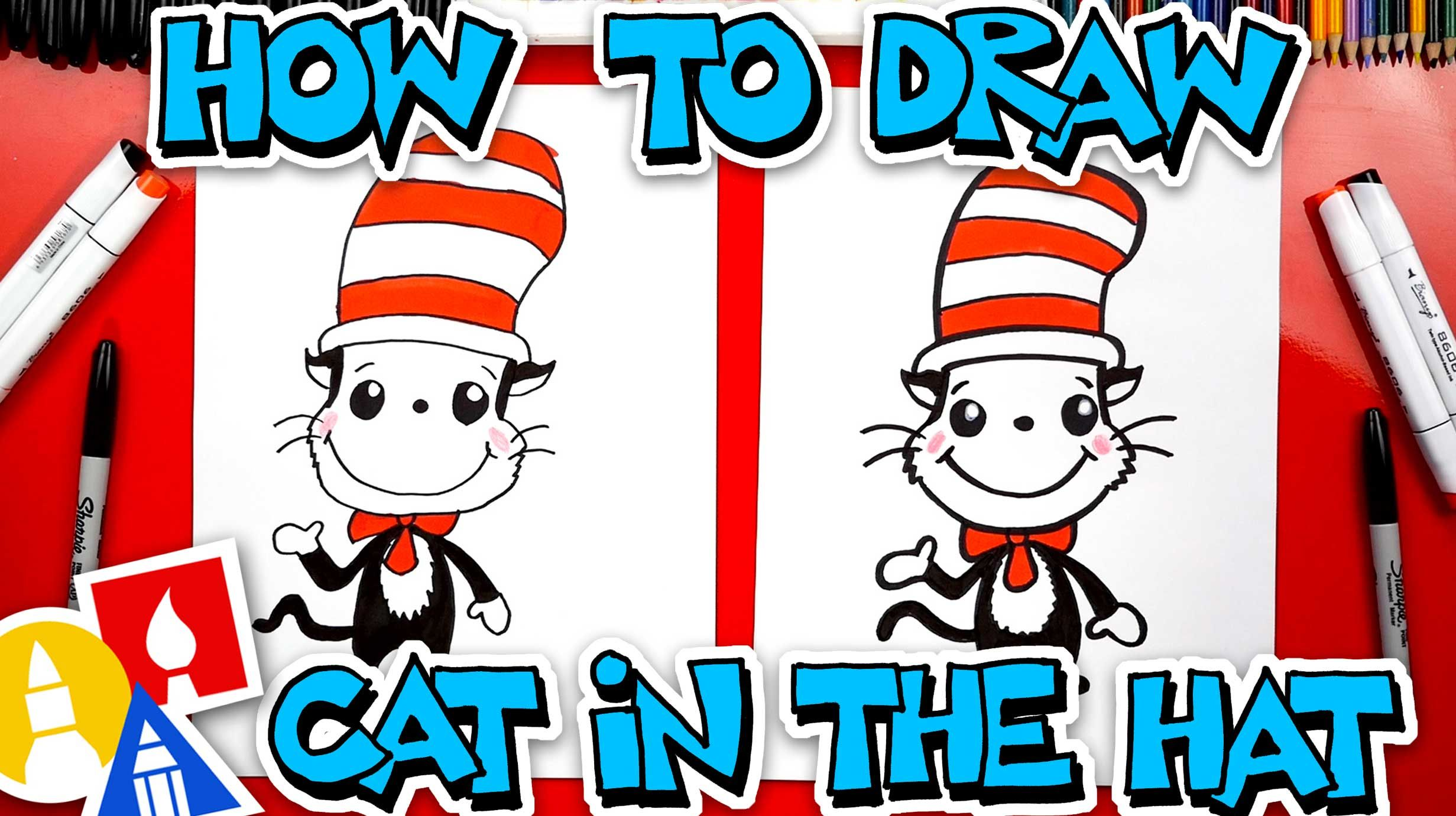 How To Draw The Cat In The Hat Easy Cartoon Version Art For Kids Hub Art For Kids Hub Art For Kids Simple Cartoon