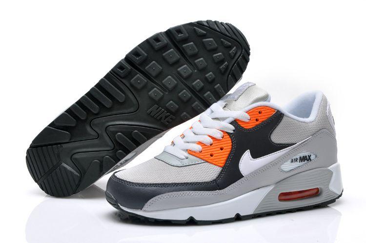 Mens Air Max 90 Running Shoes Light Gray Black Orange