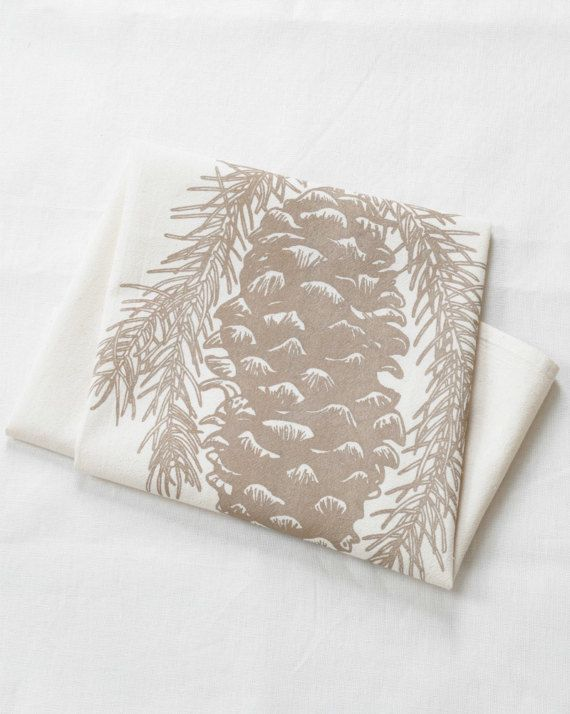 Pine Cone Tea Towel Flour Sack Towel Woodland Kitchen