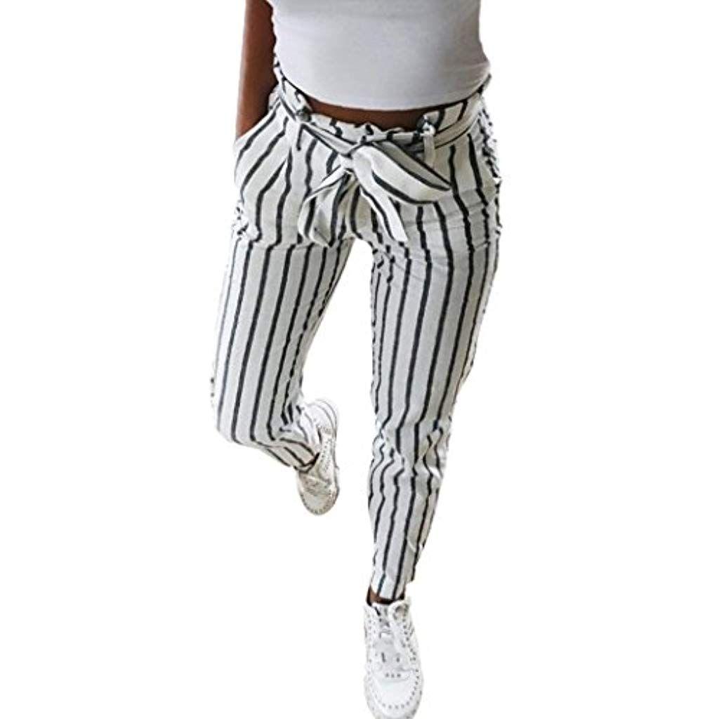 Bazhahei Mujer Flacas Pantalones Vaqueros A Rayas A Rayas Corbata Cintura Alta Damas Pantalon Skinny Women Stri Pants For Women High Waisted Pants Striped Pant