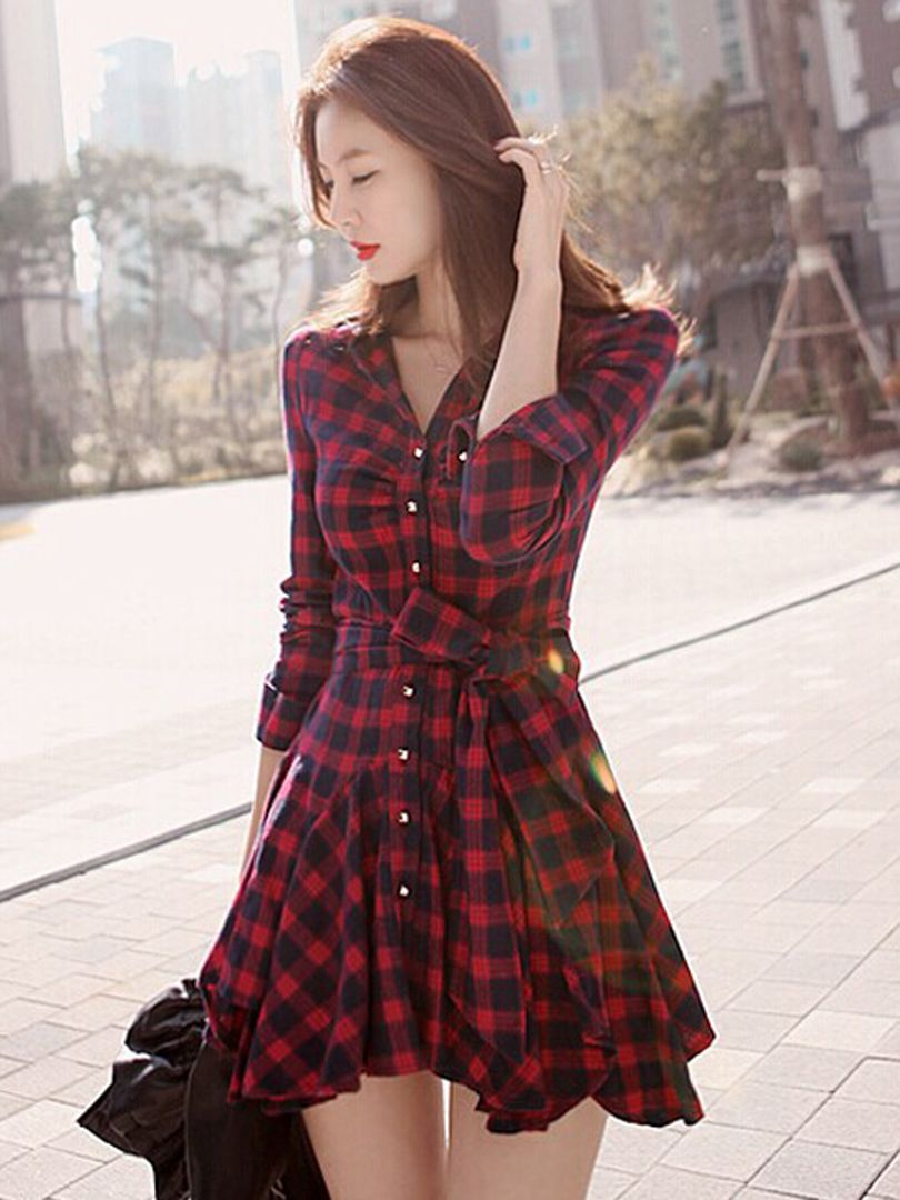 Red plaid long sleeve shirt dress with bowknot belt things i like