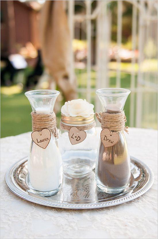Rustic Mountain Wedding Ceremony Ideas Sand Decorations