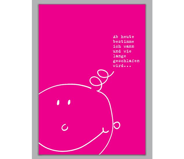 lustige rosa gl ckwunsch karte zur geburt und taufe http. Black Bedroom Furniture Sets. Home Design Ideas