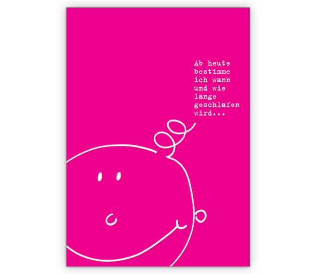 Lustige rosa Glückwunsch-karte zur Geburt und Taufe - http://www ...