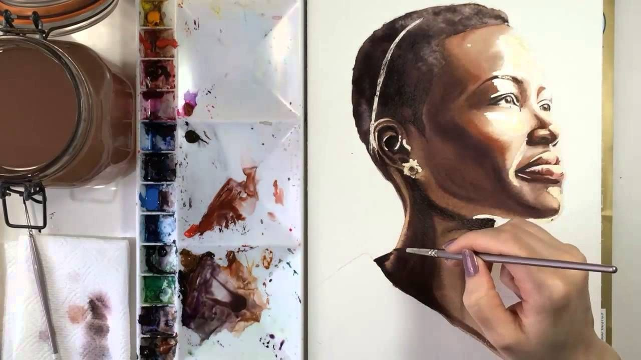 Watercolor Painting Of Lupita Nyong O Kartiny Akvarelyu