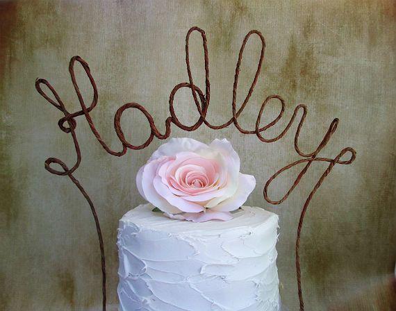 Rustic LAST NAME Cake Topper Banner