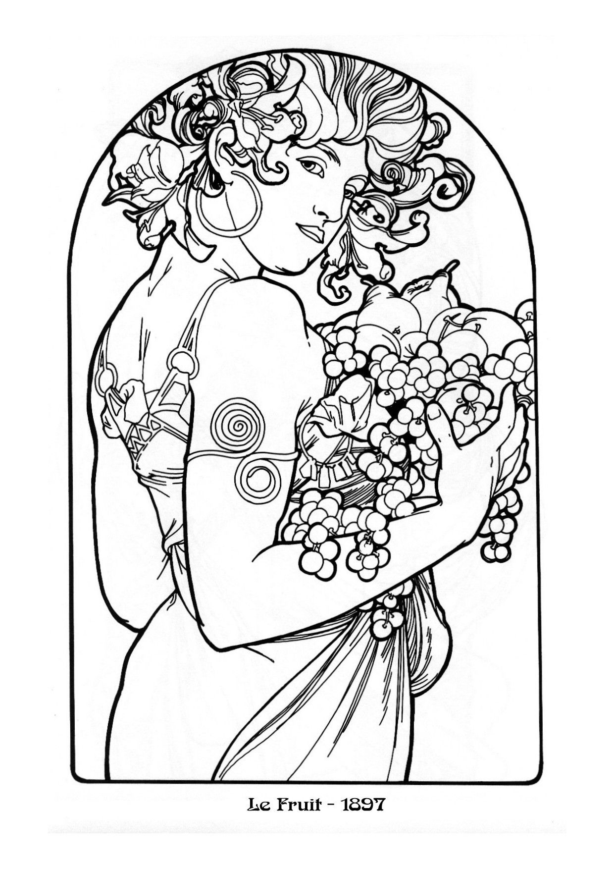 Kleurplaat Naar Alfons Mucha Colouring Picture A Mucha Like Fruit