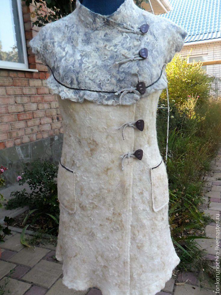 """Купить Длинный жилет """"Модница"""" - комбинированный, валяная одежда, валяный жтлет…"""