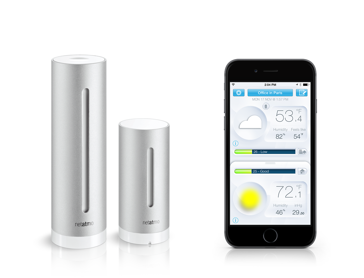 The Netatmo Weather Station monitors and logs indoor