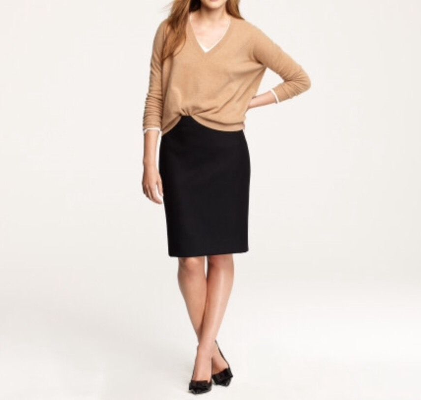 0eabeccb42 J Crew No 2 Pencil Skirt in Double Serge Cotton Size 8 Black $110 Free  Shipping
