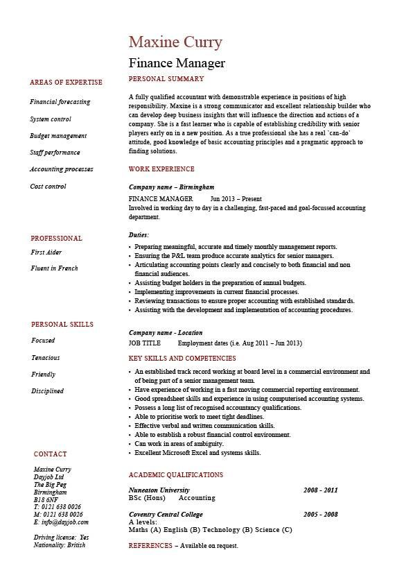 Finance manager resume, CV, example, sample, templates, auditing - receptionist job description on resume