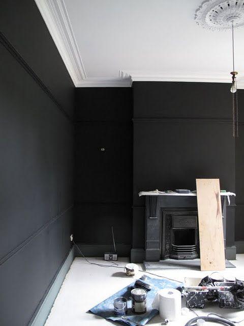 Farrow Ball All White Ceiling Pitch Black Walls