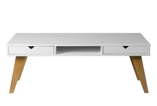 189€ Mesa de centro blanca con patas de madera de pino natural #mesa ...