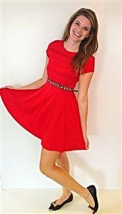 Lady in Red Dress #classic #red #dress #classy #littlereddress #mediumweight #prefall #pleats #belt www.Shoplaurennicole.com